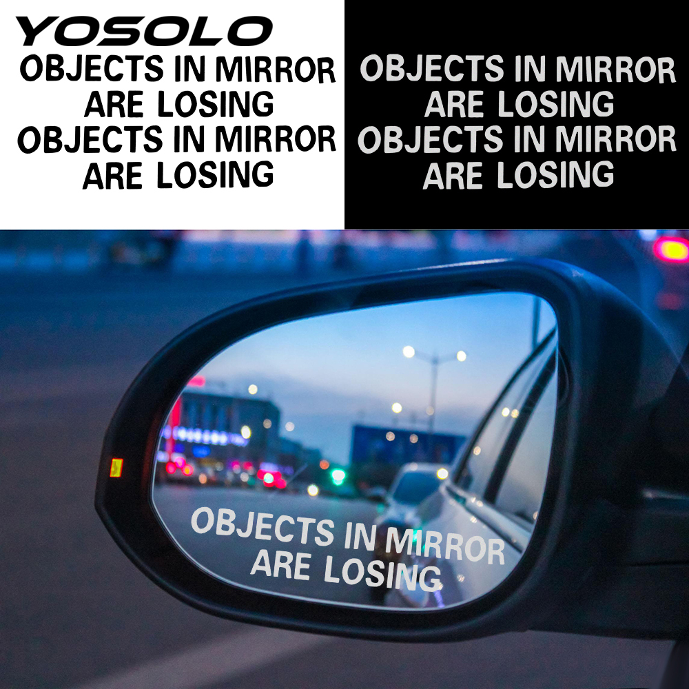 YOSOLO 1 Pair Rear View Mirror Warning Stickers OBJECTS IN MIRROR ARE LOSING Pattern Decals Waterproof Car Sticker Auto Decor