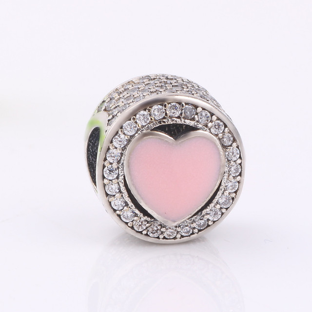 Ranqin 2017 Valentines Wonderful Love Charms Beads Fit Pandora Bracelets  925 Sterling Silver Pink Enamel AAA
