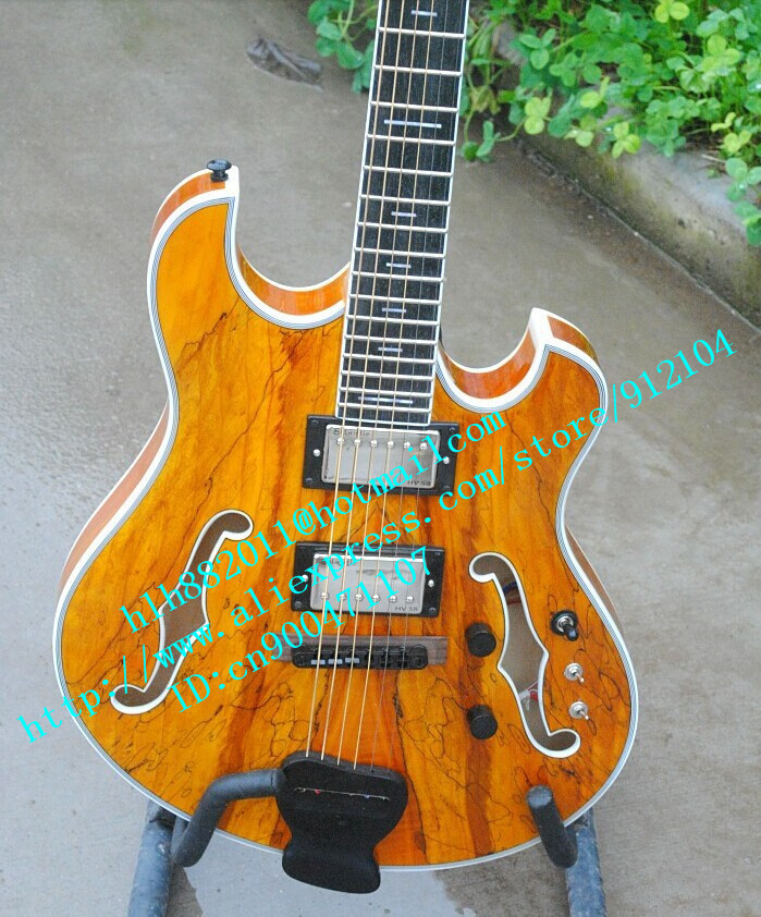 free shipping wholesale and retail Big John music instrument new customized natural F hole electric guitar  F-1730