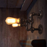 Wall Lamp American Aisle Stairs Light Eruopean Retro Restaurant Bar Antique Copper Pipe Wall Sconces