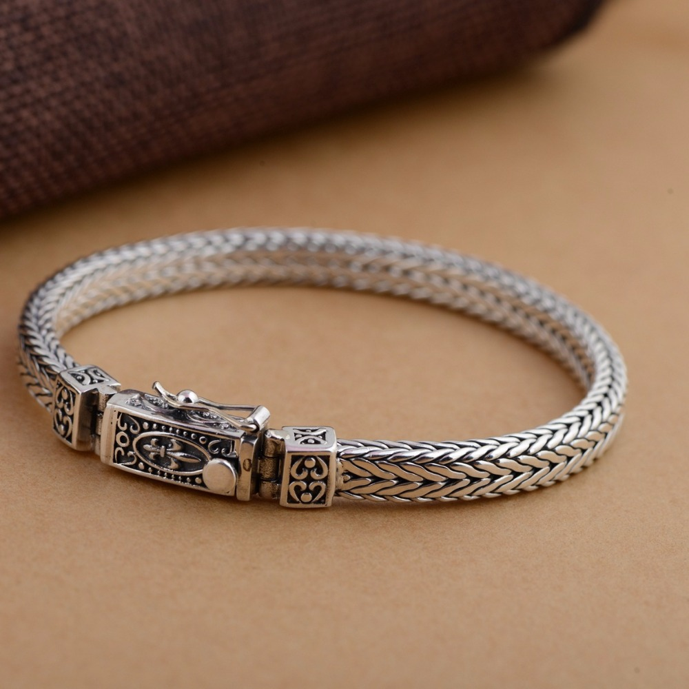 Thai Silver Ethnic 925 Sterling Silver Bracelet&Bangle For Men&Women Thai Ethnic Handmade Weaving Style Bracelet Fine Jewelry 16mm round sandalwood thai silver beads bracelet for women buddhism six letter scripture women men fine silver 990 jewelry sb69