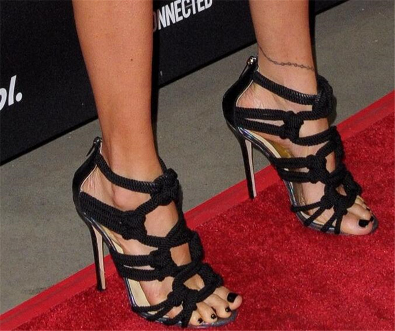 Summer Gladiator Sandals Female Woman Sexy Rope Cross-tied Cover Heels Cut-outs Back Zipper High Heels Dress Shoes