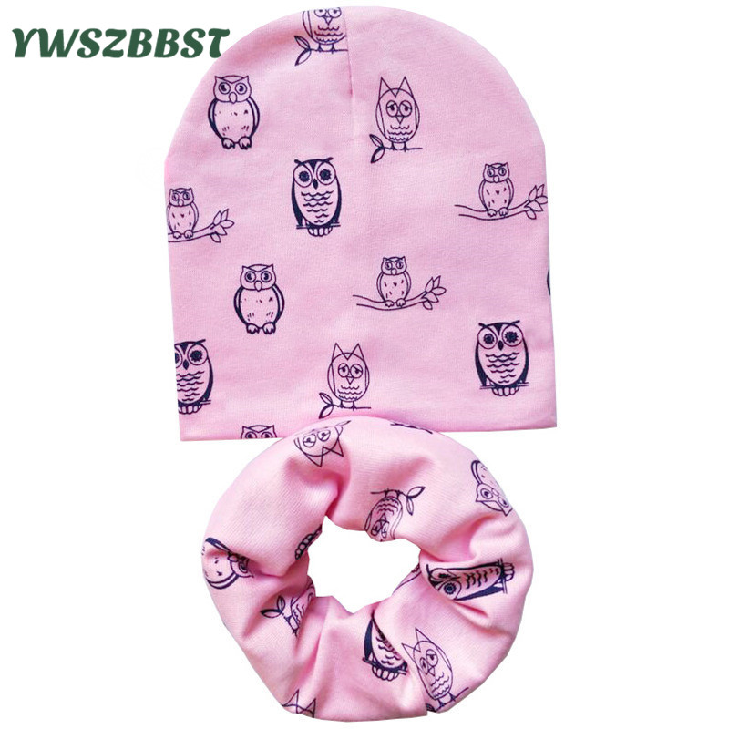 Cute Owls Baby Boys Hat Baby Girl Hats Cotton Fashion Infant Toddlers Hat Scarf set Kids Beanies Children Cap Scarf Collars