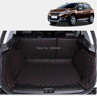 For 2013 2016 Peugeot 2008 Rear Tail Car Trunk Mat Durable Boot Carpets Full Coverage PU