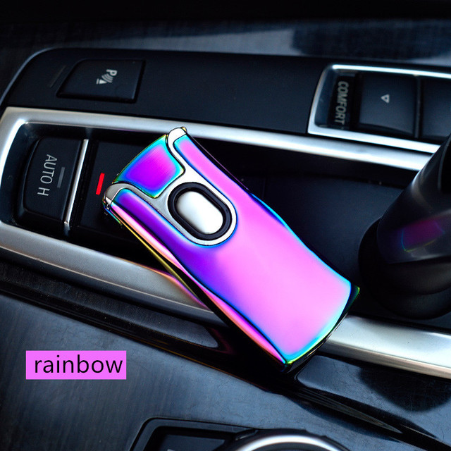 High Quality USB Thunder Lighter Rechargeable Electronic Lighter Cigarette Plasma Double  Arc Palse Pulse Windproof Car Gadgets For