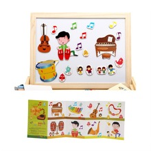 Multifunctional Children Magnetic Spell Fight Drawing Board Kids Learning Toys Cartoon Music Equipment Wooden Puzzle Education