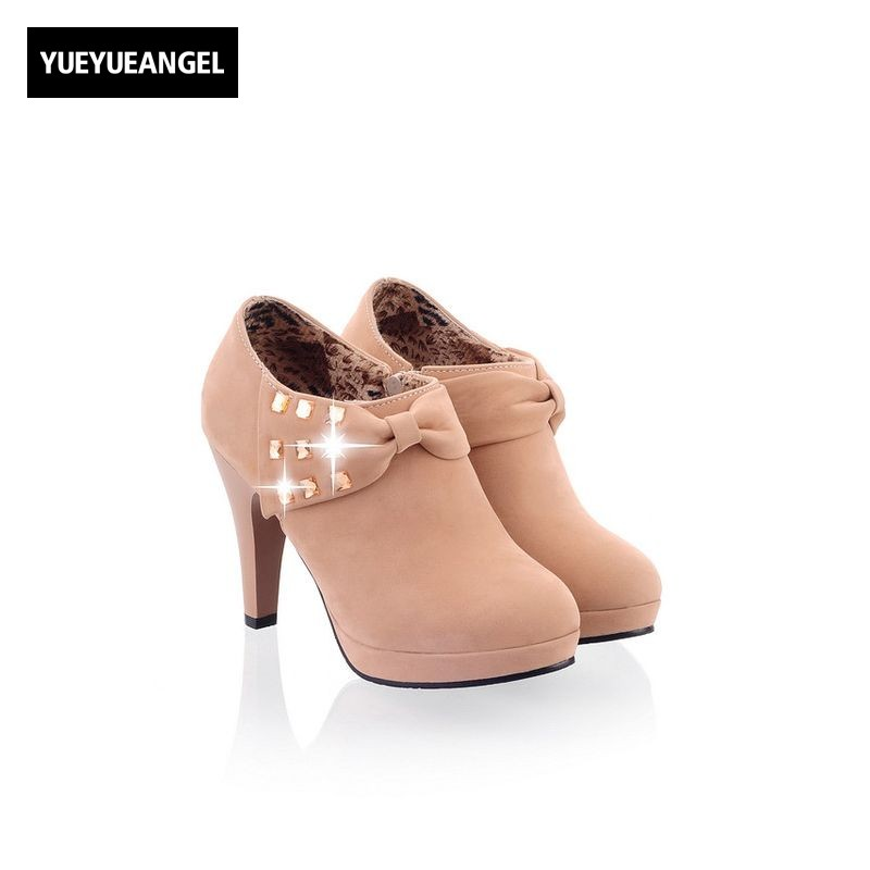 Sweat Bowknot Crystal Ladies Shoes High Heel Platform Shoes Woman Zip Round Toe Party Zapatos Mujer Tacon Elegant Pumps Footwear women elegant black blue red suede silk bowtie round toe platform 3 inch high heel deep single shoes ladies pumps for woman