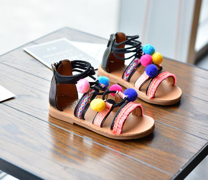 2019 Cute Ball Summer Roman Baby girls Gladiator Sandal Shoes Princess Dress PU Leather Beach Lace Up Sandals2019 Cute Ball Summer Roman Baby girls Gladiator Sandal Shoes Princess Dress PU Leather Beach Lace Up Sandals