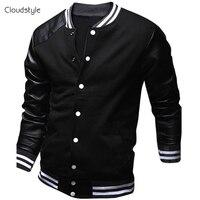 Cool College Baseball Jacket Men 2015 Fashion Design Black Pu Leather Sleeve Mens Slim Fit Varsity