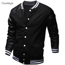 Cool College Baseball Jacket Men 2017 Fashion Design Black Pu Leather Sleeve Mens Slim Fit Varsity Jacket Brand Veste Homme