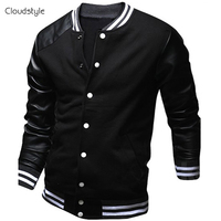 Cool College Baseball Jacket Men 2015 Fashion Design Black Pu Leather Sleeve Mens Slim Fit Varsity