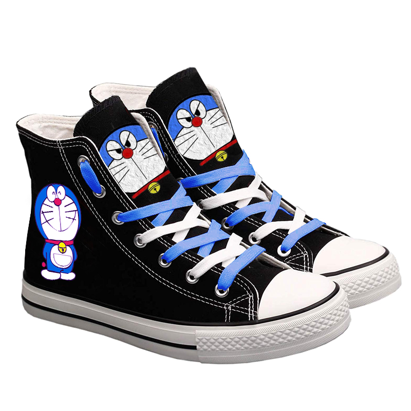 Cute Anime Doraemon Women Men Sneakers Canvas Shoes Cosplay Cartoon Casual Shoes Teenagers Boys and Girls Students Shoes Black(China)