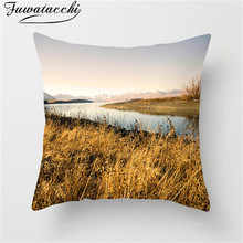цены Fuwatacchi Nature Scenery Cushion Cover Lakes Mountains Throw Pillow Cover Cloud Forest Throw Pillow Cover Views Pillowcases