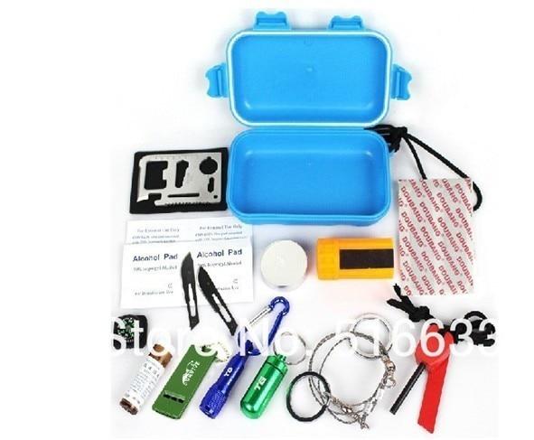 Free shipping 1pc 14 in 1 PSK waterproof case Personal Survival kit emergency kit sel-rescue kit pocket outdoor survival box