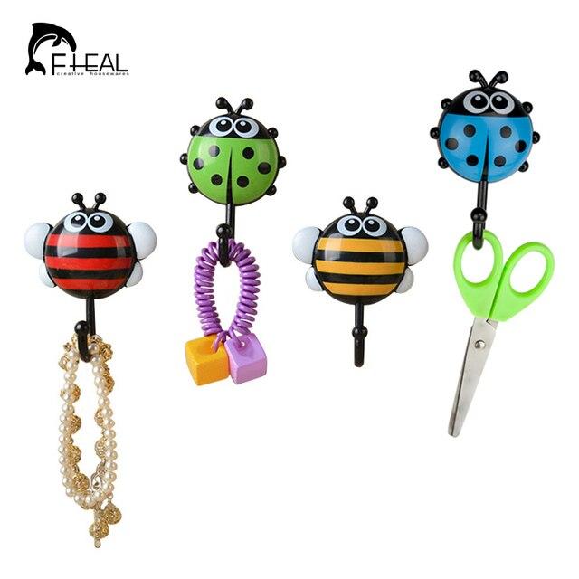 FHEAL 2pcs Creative Ladybug/Bee Cartoon Bathroom Wall Hooks Kitchen Storage Organization Sucker Nail Hook Wall Decorative Hooks