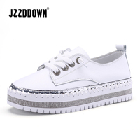 JZZDDOWN Genuine Leather Wedding sneakers on the platform Soft Ladies Leather Shoe Casual Women Shoes White Flat Sneakers Women