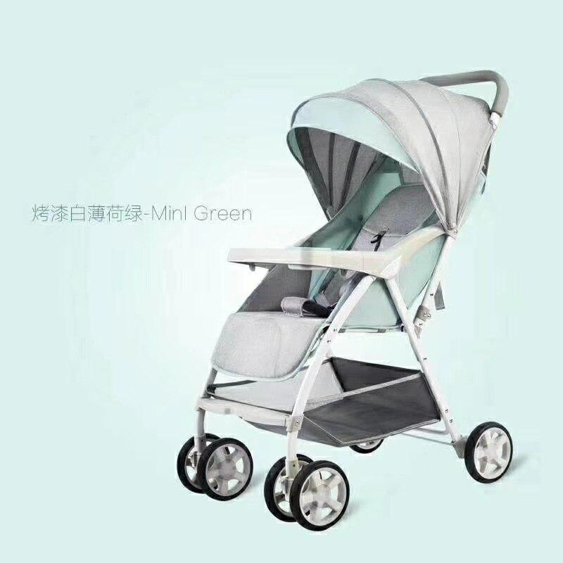 Light Baby Stroller Can Sit Reclining Newborn Stroller Four-wheel Shock Absorber Treasure Trolley Send Snack Tray