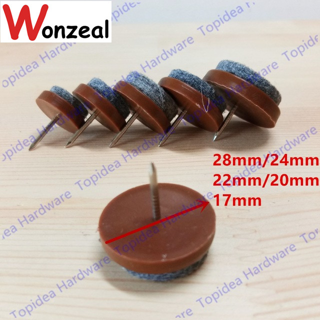 12pcs/lot brown furniture foot nail furniture leg nail floor protector no-noise nail with cotton cushion
