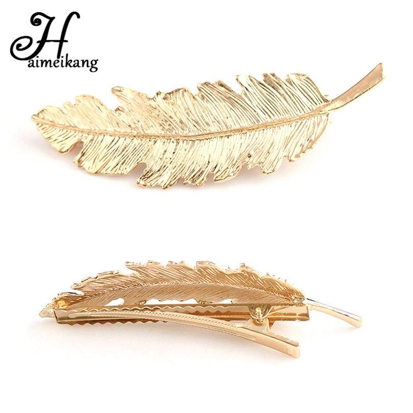 haimeikang coree cheveux accessoires retro plume feuille epingles a cheveux cheveux bijoux exageree patine cheveux clips pour les femmes en gros