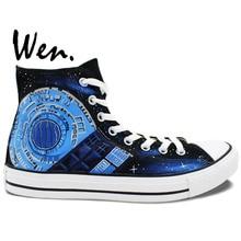 Wen Hand Painted Shoes Design Custom Doctor Who Pandorica Tardis Accompanying Textual High Top Men Women's Canvas Sneakers