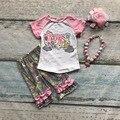 Algodão do bebê outfits meninas molas no ar de VERÃO capris roupas boutique de manga curta impressão PLISSADO combinando com Acessórios