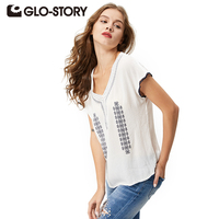 GLO STORY Brand Women Blouse 2016 New Arrive Spring Summer Women Shirts White Embroidery Short Sleeve