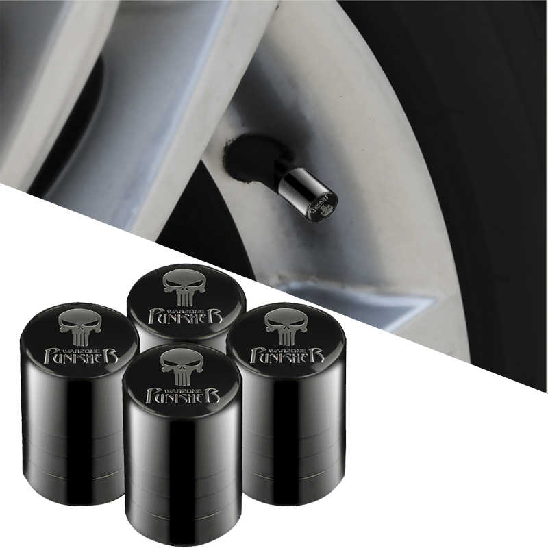 4pcs Punisher White/Black Skull Logo Valve Caps Car Wheel Tires Accessories Stems Covers Auto Styling For Ford Toyota Audi BMW
