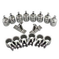 """4 Bow 1"""" Bimini Top Boat Stainless Steel Fittings Marine Hardware Set - 16 piece set of SS316 7/8""""(22mm) 1""""(25mm)"""