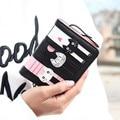 2017 nuevas mujeres de la marca mini bolso del gato encantador imprimir pu cartera de cuero titular de la tarjeta monedero de la cremallera pequeño monedero de color niñas