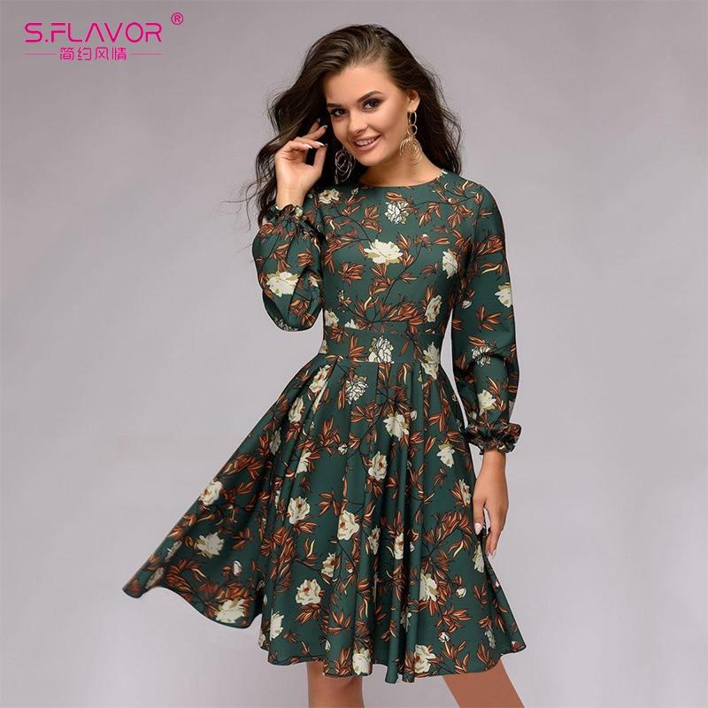 100% QualitäT S. Geschmack Casual Frauen Druck A-line Knie-länge Kleid 2018 Frühling Sommer Blütenblatt Langarm Schlank Vestidos Weibliche Vintage Kleid