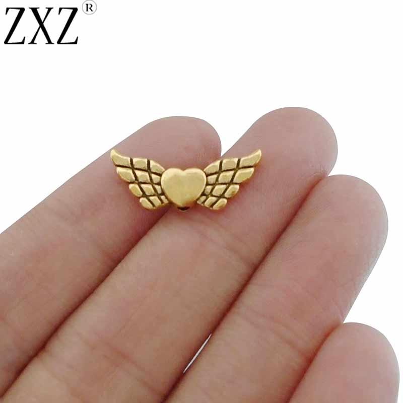 ZXZ 20 штук старинный золотистый крыло ангела-хранителя Spacer Подвески для ювелирных изделий Craft решений изделий 22×9 мм