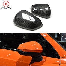 Q2 Mirror Cover with & without lane side assist 2019 For Audi Q3 Carbon Fiber Rear View Mirror Cover 1:1 Replacement style 2019+ 2pcs set carbon fiber replacement side wing rear view rearview mirror cover w o side lane assist for audi a8 a3 q3 a4 b8 a5 a6