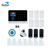 Saful WIFI GSM Alarm Systems WIFI+GSM+GPRS Function Home Security Protection Automation GPRS WIFI GSM Alarm System Free shipping