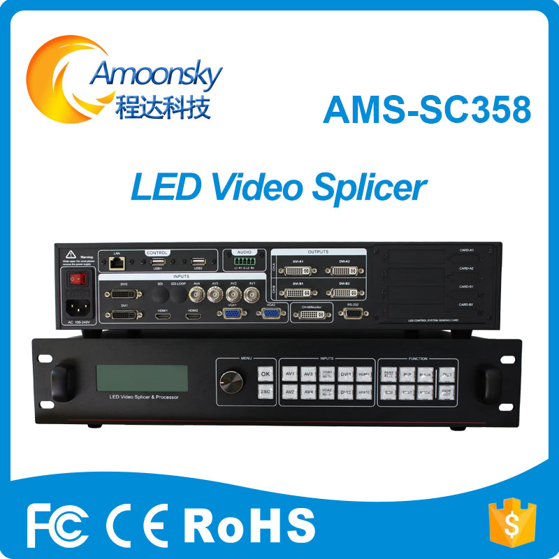 led display 4k video processor AMS-SC358 4k led wall controller support novastar msd300 linsn-ts802d dbs-hvt11in t7 it7 led card best price full color led display outdoor controller dvi video switcher seamless switcher ams mvp508 for ts802d msd300