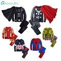 Grandwish Pijamas Do Homem Aranha Traje para o Menino Da Menina Da Criança das Crianças Dos Desenhos Animados Define Vestuário Crianças Capitão Topos + Calças 24 M-12 T, SC750
