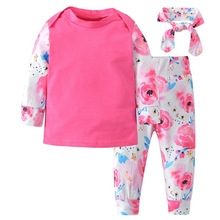 цена на Baby's Set Girls Long Sleeve Lovely Floral T-shirt Cotton T-Shirt +Pant+Headband Toddler Outfits Set for Baby Girls