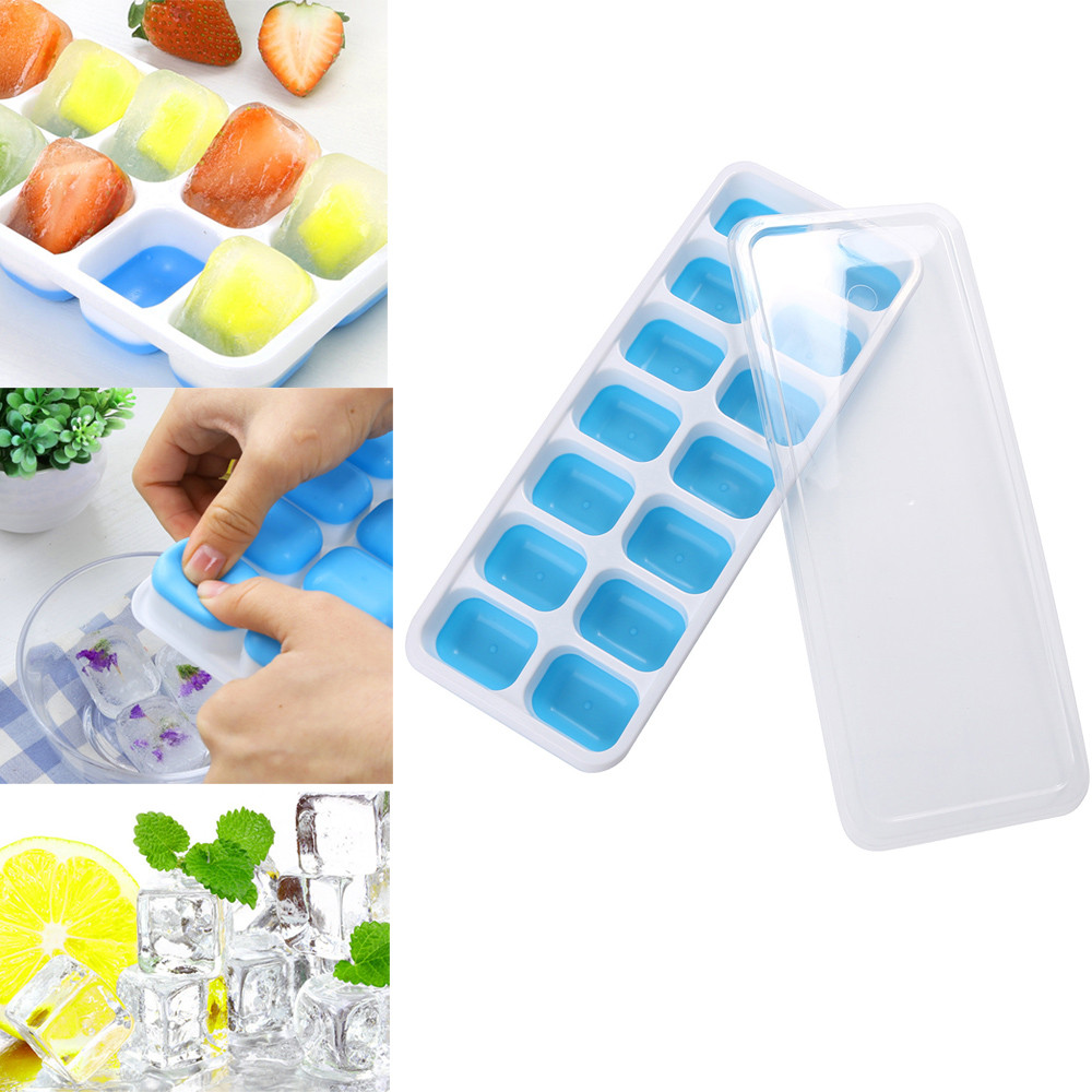 2018 hot sale 1Pc Covered Ice Cube Tray Set With 14 Ice Cubes Molds Flexible Rubber Plastic Stackable Green #0305