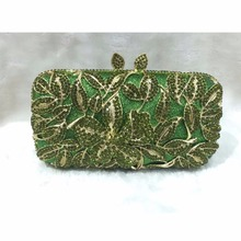 8276GN Green Crystal Flower Floral Lily Bridal Party hollow Metal Evening purse clutch bag case box handbag