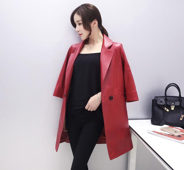 HNW007 otoño estilo de Las Mujeres de piel de Oveja de cuero 3 trimestre manga rompevientos chaquetas de cuero abrigos/cortocircuito 3color4size/marca famosa de China