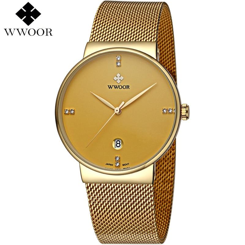 Άνδρες Ρολόγια Μάρκα Luxury Ultra Thin Ημερομηνία Αρσενικό Άνδρας Λουρί Χρυσό Watchband Casual χαλαζία ρολόι Ανδρών Αθλητισμός καρπό ρολόι αδιάβροχο