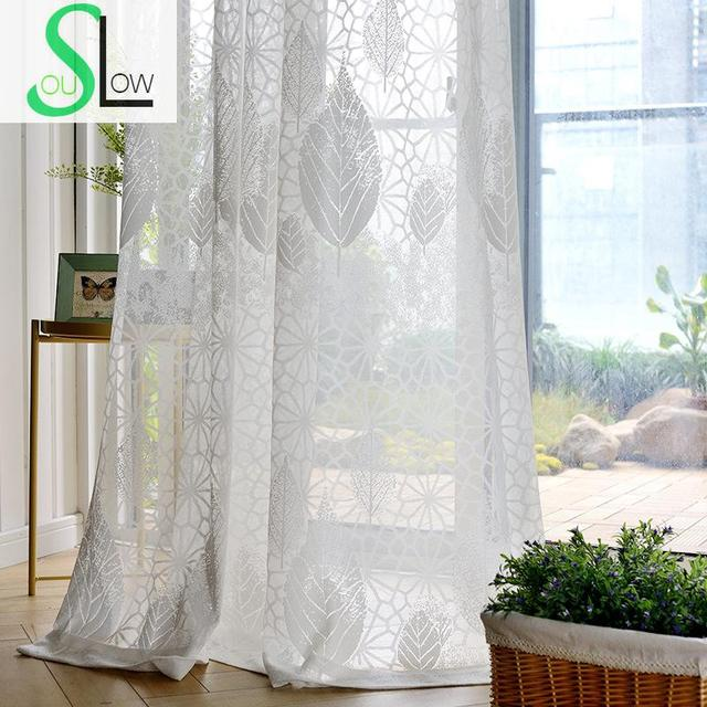 Slow Soul White Jungle Jacquard Curtains Curtain For Living Room Tulle Kitchen Bedroom And Chinese Window
