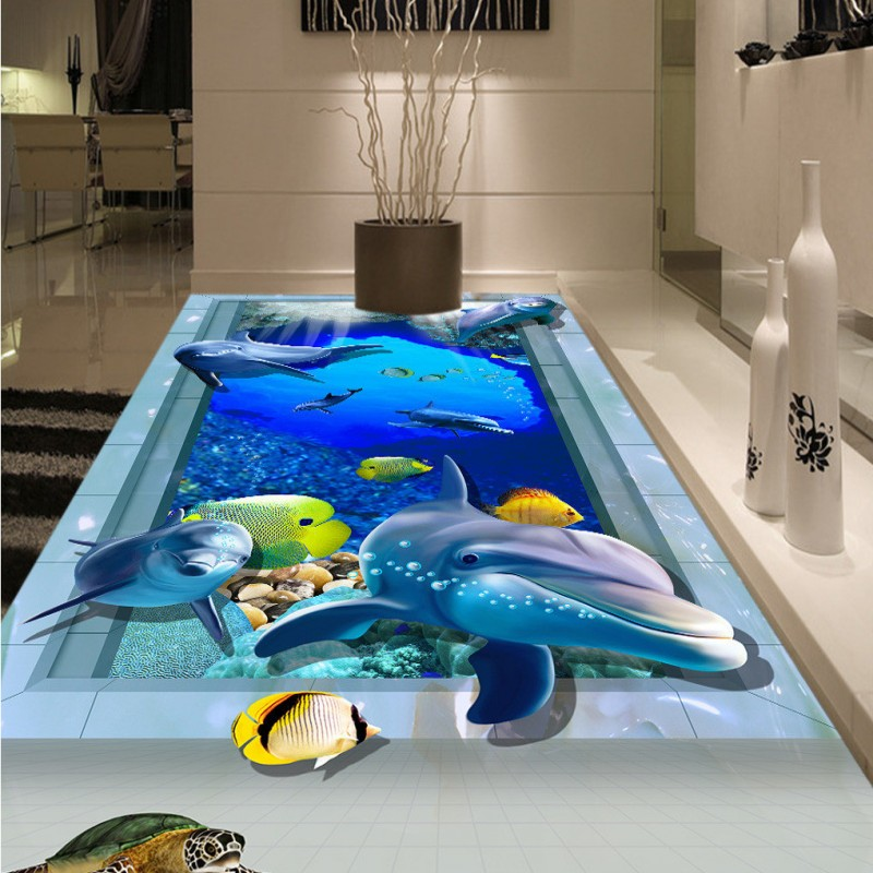 ФОТО Free shipping custom living room bathroom home decoration 3D Underwater World Background Wall wallpaper floor roll