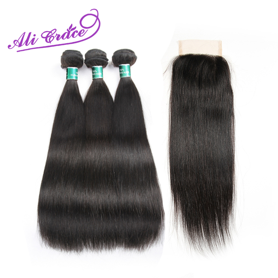 Ali Grace Peruvian Human Hair 3 Bundles With 4 4 Lace Closure 100 Remy Straight Hair