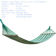 Recreational canvas hammock (40+200+40)*80cm bearing 120kg Color stripe sticks hammock outdoor Furniture For a holiday