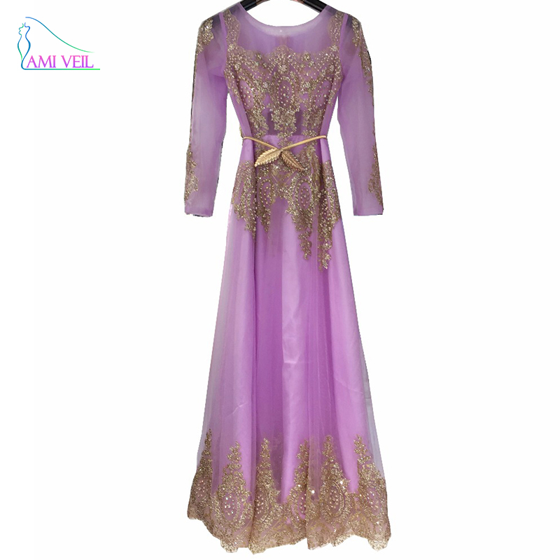 Robe De Soriee New Simple Wedding Dress Full Sleeve Lace: Robe De Soiree Purple Pink Gold Beaded Sparkly Long Sleeve