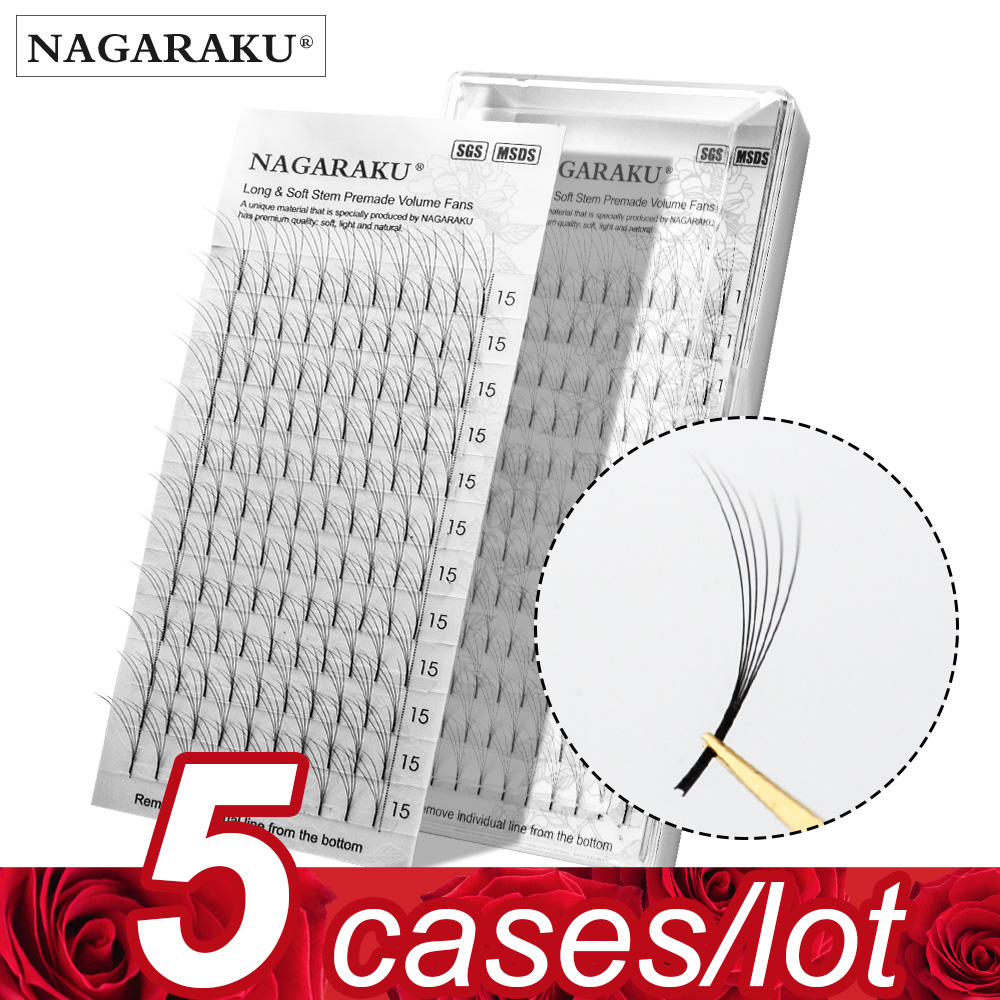NAGARAKU 5 Trays Eyelash Extensions Long Stem Premade Volume Fans 3d/4d/5d/6d Lash Russian Volume Pre Made Fans Soft Light