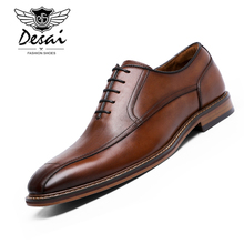 Dress-Shoes Gentleman Oxfords Business Genuine-Leather Fashion DESAI Retro Eur-Size Men