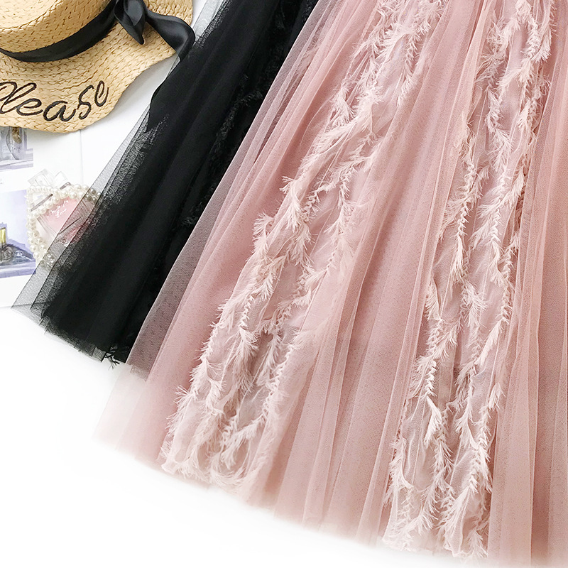 Fashion Light Fluffy Jacquard Lace Tulle Skirt 2019 New Spring Elegant Feather Mesh Skirts Female A-Line Big Swing Skirt Faldas