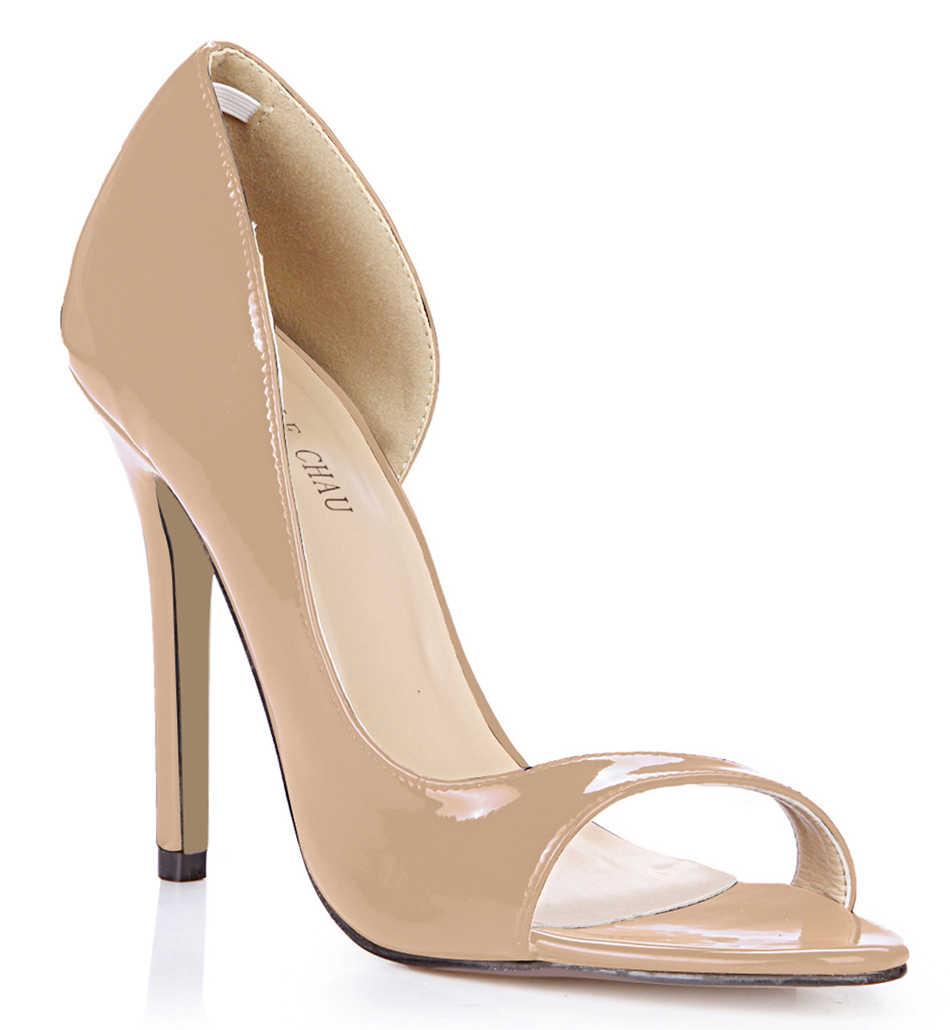 CHMILE CHAU Vernice Nera Sexy Del Partito Delle Donne Scarpe Peep Toe Tacchi A Spillo Lato Aperto Superficiale Pompe Plus Size Zapatos Mujer 0640C-Q1