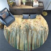 Зеленый цветок картина маслом круглый ковер ковры для журнальный столик для гостиной коврики/Детские ползающие ковры